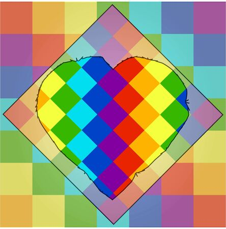 squares of red orange yellow green light blue blue and violet color of different shades with a unique outline of the heart in the middle. lgbt symbolism Illustration