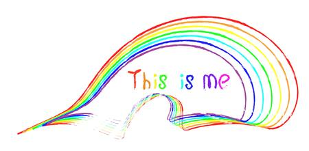 handwritten inscription this is me and stripes of different colors of the rainbow as if drawn with a brush on a white background. symbolism
