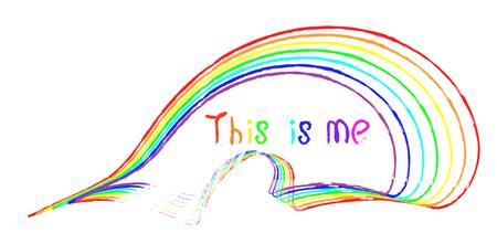 odręczny napis to ja i paski w różnych kolorach tęczy jakby narysowane pędzlem na białym tle. symbolizm