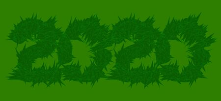 number 2020 consisting of green leaves and grass on a light green background. eco style
