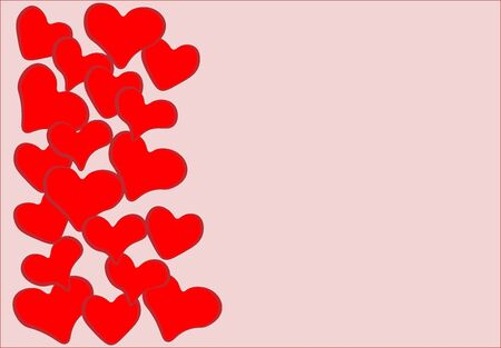 beautiful unusual red hearts of different shapes are located on the left on a pale pink background