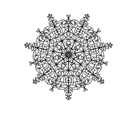 coloring book. abstract symmetrical black mandala pattern on a white background