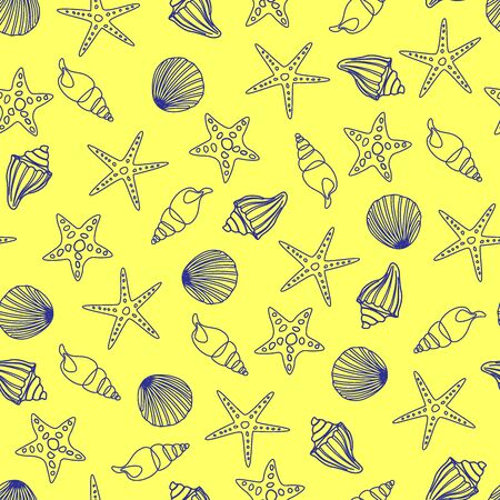 Seamless pattern of blue contours of seashells and starfish on a yellow 向量圖像