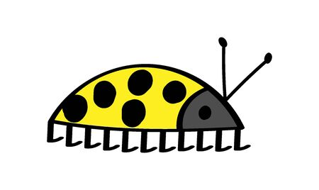 yellow beetle with round black dots and antennae on a white background. imitation of children's drawing. flat style