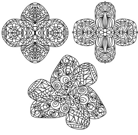 set of coloring abstract flowers in doodle style on a white background Vettoriali