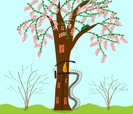 a blossoming tree-house for beetles with orange windows, two stairs and an unusual yellow entrance door.  イラスト・ベクター素材