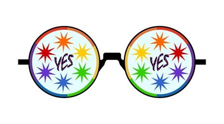 round glasses with an LGBT flag color frame and painted stars on glasses and the inscription yes black Illustration