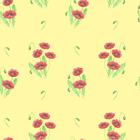 seamless pattern of drawn red poppies with buds on a yellow background
