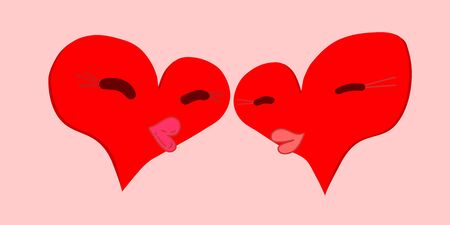 kiss of two red hearts with narrowed eyes and puffy lips