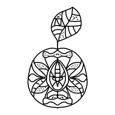 antistress coloring page. apricot with leaf with geometric symmetrical pattern in doodle style on a white background