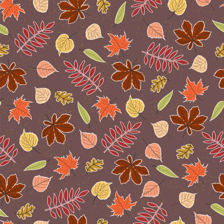 seamless pattern autumn leaves of oak, maple, birch, poplar, linden, horse chestnut and rowan with white outline on a dark pink background