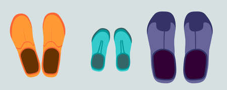 three pairs of rubber boots. orange womens, blue childrens, purple mens. view from above. flat style