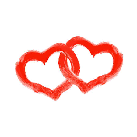 two intertwined red hearts drawn with a brush on a white background Ilustracja