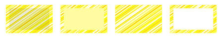 set of yellow striped frames and yellow striped backgrounds with white rectangles .copy space Ilustracja