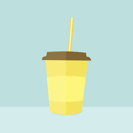 one glass of light yellow color with a brown lid and a yellow straw, with a place for an inscription