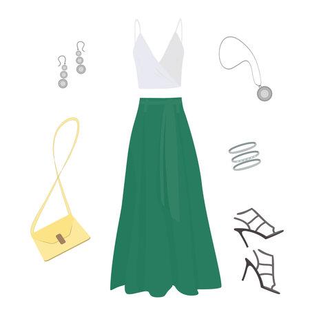 long emerald skirt, white tank top, dark stiletto sandals, light yellow women's handbag, silver earrings, three bracelets and a round pendant on a white background
