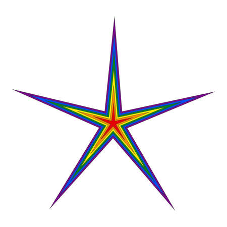 The five-pointed star is colored red, orange, yellow, green, blue and purple on a white background. LGBT symbolism. Ilustracja