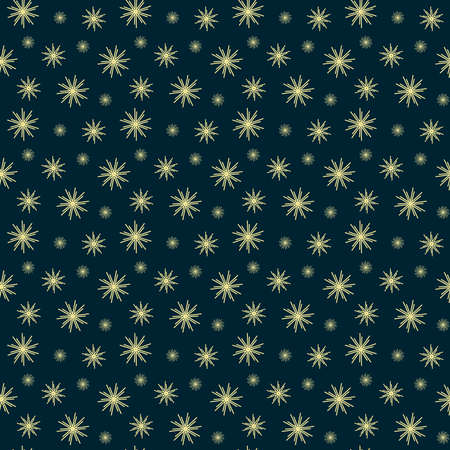 seamless pattern of yellow stars of three types on a dark background Ilustracja