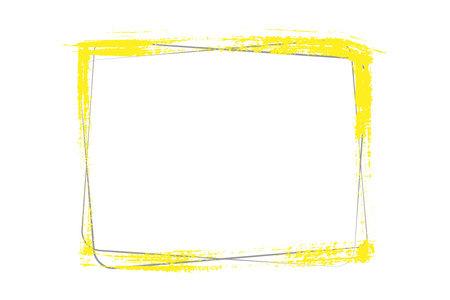 yellow frame texture brush strokes and gray rectangular frames on white background