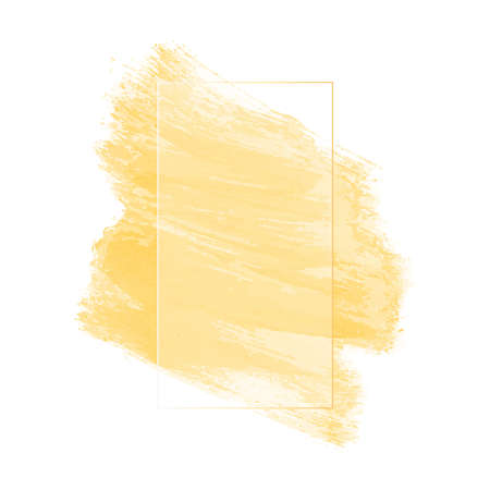 yellow paint smear with bristle brush with transparent rectangular frame on white background