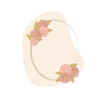 oval transparent frame with pink roses and gold leaves on the background of an abstract pink spot on a white background. flat style