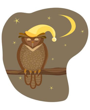 brown owl in a yellow cap sits on a branch and sleeps against the background of the night sky with a moon and stars