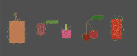 set of fruits drawn by one line in yellow on a gray background with multicolored rectangles. two cherries, pear, wild berry, red currant and raspberry