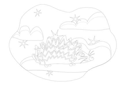 children's coloring a cheerful hedgehog with stars on his back stands on a cloud against the background of the sky with stars