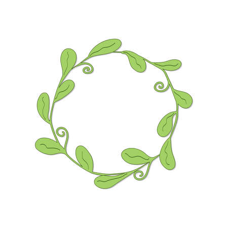 drawn round frame with oval leaves and curls in light green color with shadow on white background