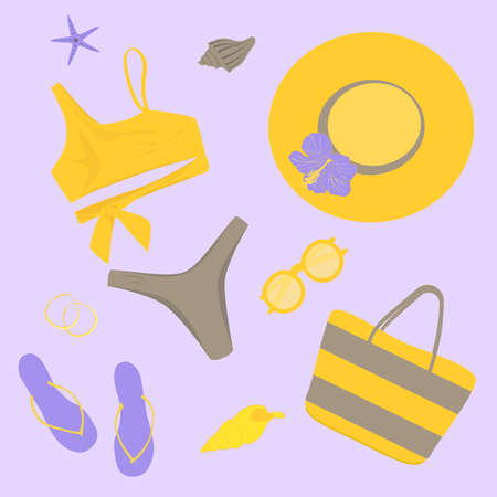 set trendy swimsuit with yellow top and gray swimming trunks, yellow beach hat with lilac hibiscus flower, lilac slates, yellow sunglasses, earrings, striped beach bag, lilac starfish and yellow shell