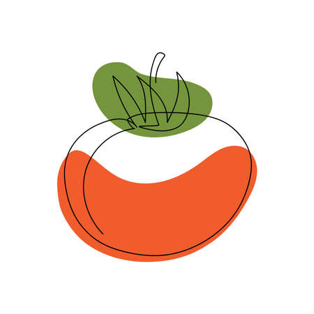 tomato drawn by one black line with red and green spots on a white background