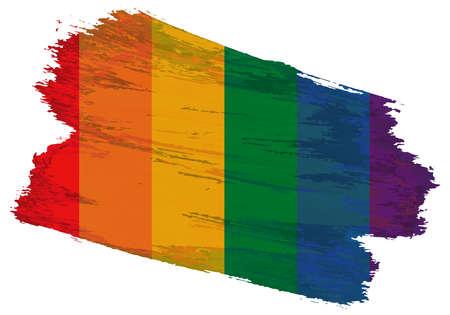 striped six-color lgbt community flag as a brush stroke on a white background. pride symbols Ilustracja