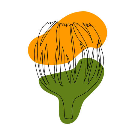hand-drawn bud of calendula in one solid line on a background of abstract spots of green and orange on a white background