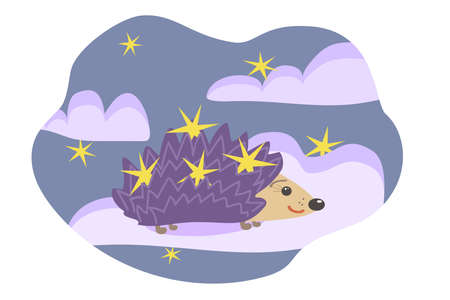 drawn stylized cheerful hedgehog with purple thorns and yellow stars on thorns stands on a cloud against the background of a lilac sky with stars