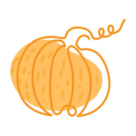 hand drawn continuous orange pumpkin outline with curl on abstract orange spot background with scribbles on white background, line art
