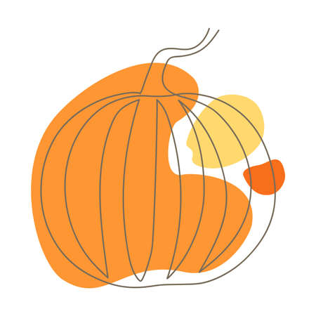 hand drawn continuous contour of a pumpkin on a background of abstract spots in orange shades on a white background, line art