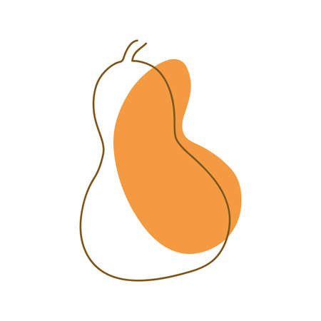 drawn by a solid dark line pumpkin on a background of abstract spots of orange on a white background Ilustracja