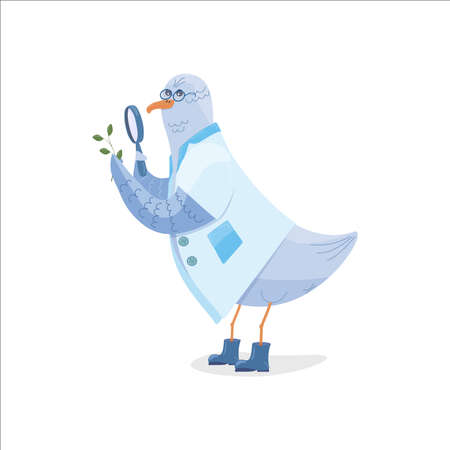 child character seagull nerd in a white coat, glasses and blue rubber boots examines a twig through a magnifying glass. isolate Ilustracja