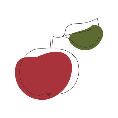 one apple with a leaf is drawn with a solid continuous line against a background of two abstract spots of red and green colors on a white background