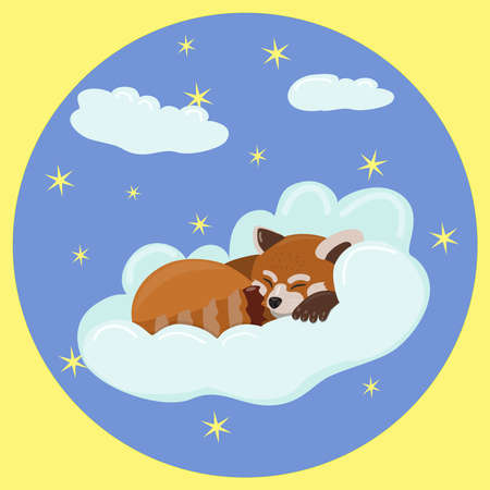 Red panda sleeps on a cloud against a starry blue sky with clouds in a round frame. children's illustration for children's bedrooms