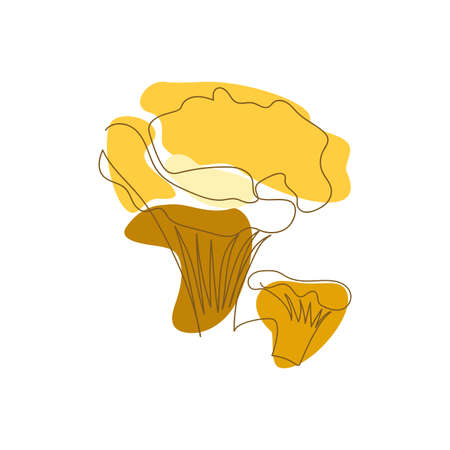 contour two chanterelle mushrooms are drawn by one line on a background of orange abstract spots on a white background