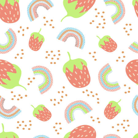 seamless pattern of stylized strawberries and rainbow polka dots with blue lilac and pink and beige stripes on a white background. childrens patern in pastel colors Ilustracja