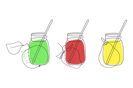 three glass jars with juice, a straw and a pear, an apple and a strawberry on a white background are drawn with a solid line, line art Ilustracja