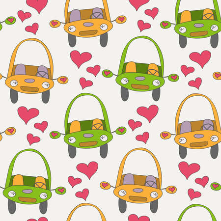 seamless pattern cars of orange and green color drawn in doodle style and pink hearts on a white background