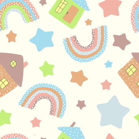 seamless pattern of colored houses with a pipe, rainbows in a dot and multicolored stars in doodle style on a light background Ilustracja