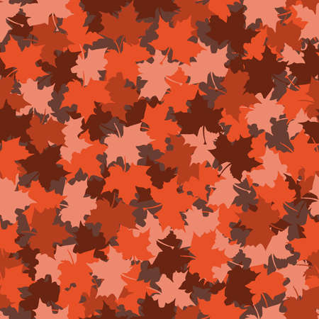 seamless pattern of maple leaves in pink, burgundy, coral and red colors. autumn background Ilustracja