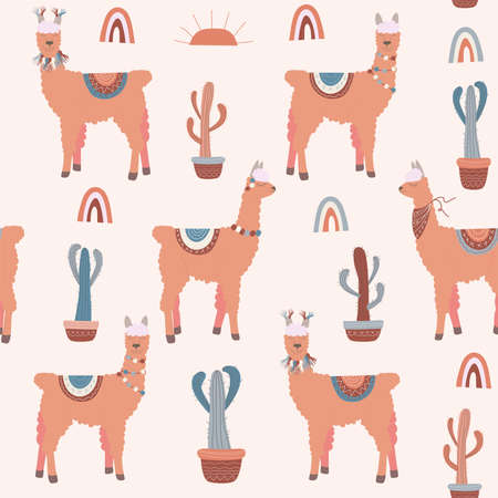 seamless pattern of coral llama with multi-colored rugs with a pattern on the back and decorations on the necks and blue and coral cacti in pots with ethno pattern and rainbows on a light background Ilustracja