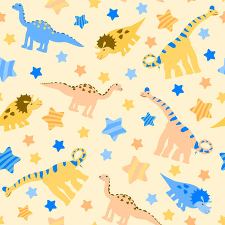 seamless pattern plant-eating yellow, blue and pink dinosaurs and multicolored stars in stripes on a light beige background