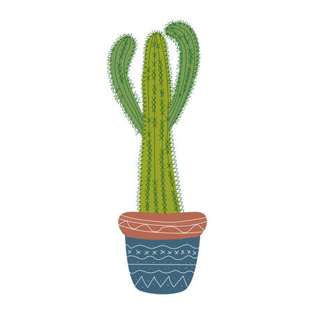 hand drawn green cereus cactus in blue pot with white ethno pattern isolate on white background Ilustracja