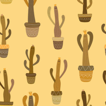 seamless pattern cacti cereus in brown shades with crowns, eyes and smiles in pots with ethnic pattern on a light beige background Ilustracja